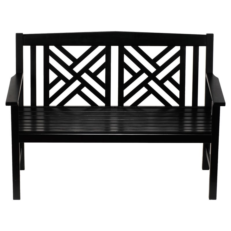 Achla Designs 4 ft. Black Fretwork Bench