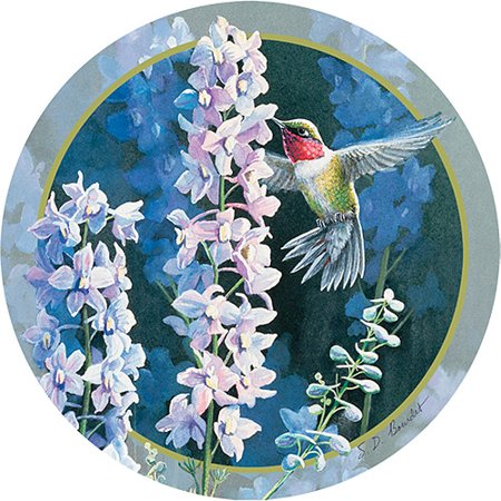 Thirstystone Occasions Drink Coasters, Hummer in Delphiniums (Custom Bar Coasters)