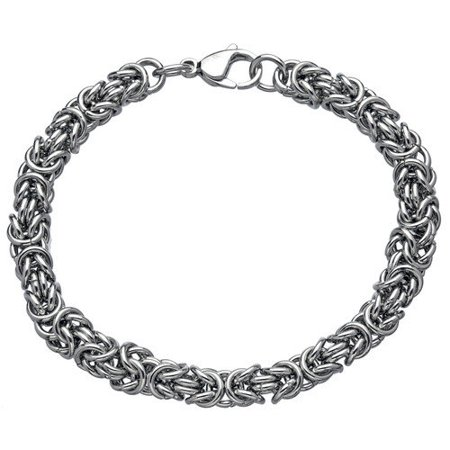 BIG Jewelry Co Gold Ion-plated Stainless Steel Men's 7-mm Byzantine Link Bracelet