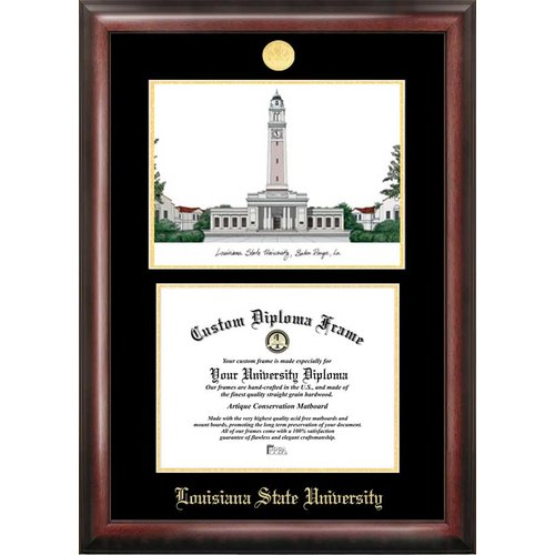 """Louisiana State University 8.5"""" x 11"""" Gold Embossed Diploma Frame with Campus Images Lithograph"""