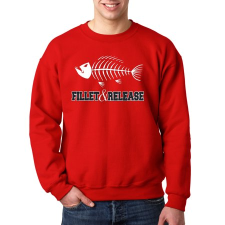 New Way 036 - Crewneck Fillet & Release Fishing Fish Bones Skeleton Sweatshirt