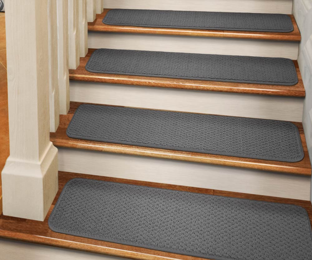 Set Of 12 Tape Down Carpet Stair Treads   Gray   8 In. X