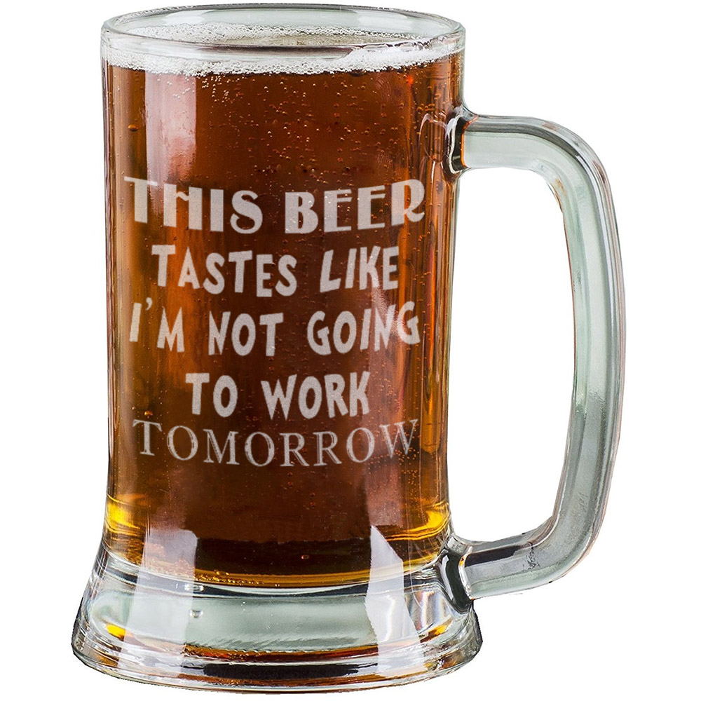 16 Oz Personalised Pint Beer Glasses Etched Mug Engraved with THIS BEER TASTES LIKE I'M... by