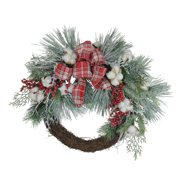 "Northlight 24"" Unlit Plaid Glittered Cotton and Holly Berry Artificial Christmas Wreath"