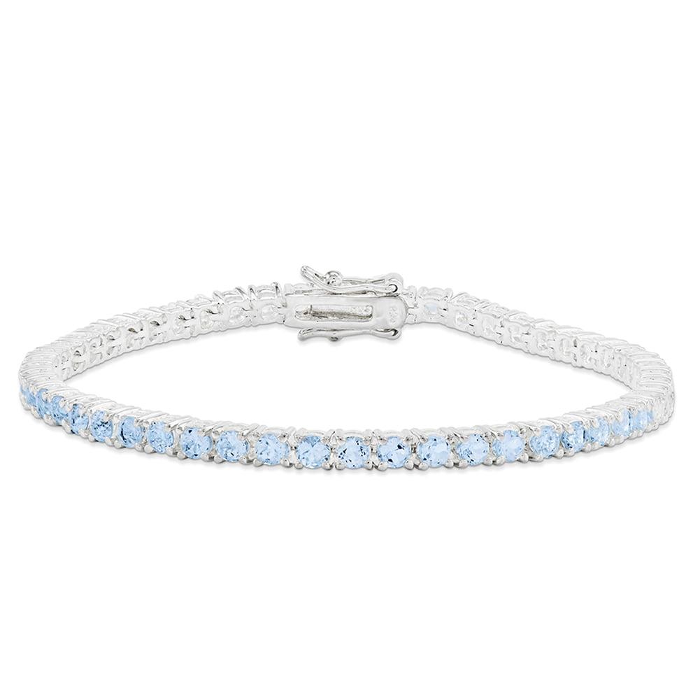 "Sterling Silver Blue Topaz Bracelet 7"" QX156BT by"