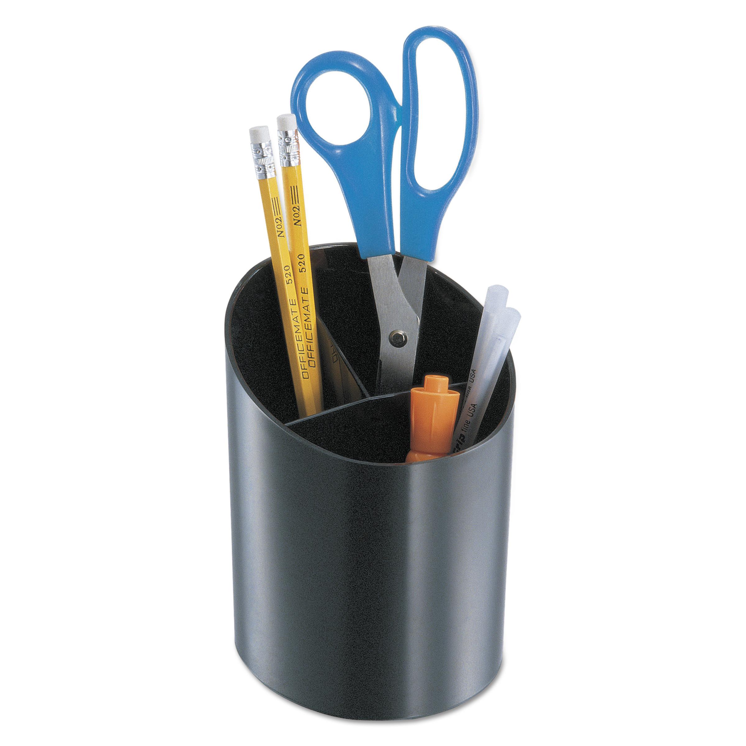 Universal Recycled Big Pencil Cup, Plastic, 4 1/4 dia. x 5 3/4, Black -UNV08108