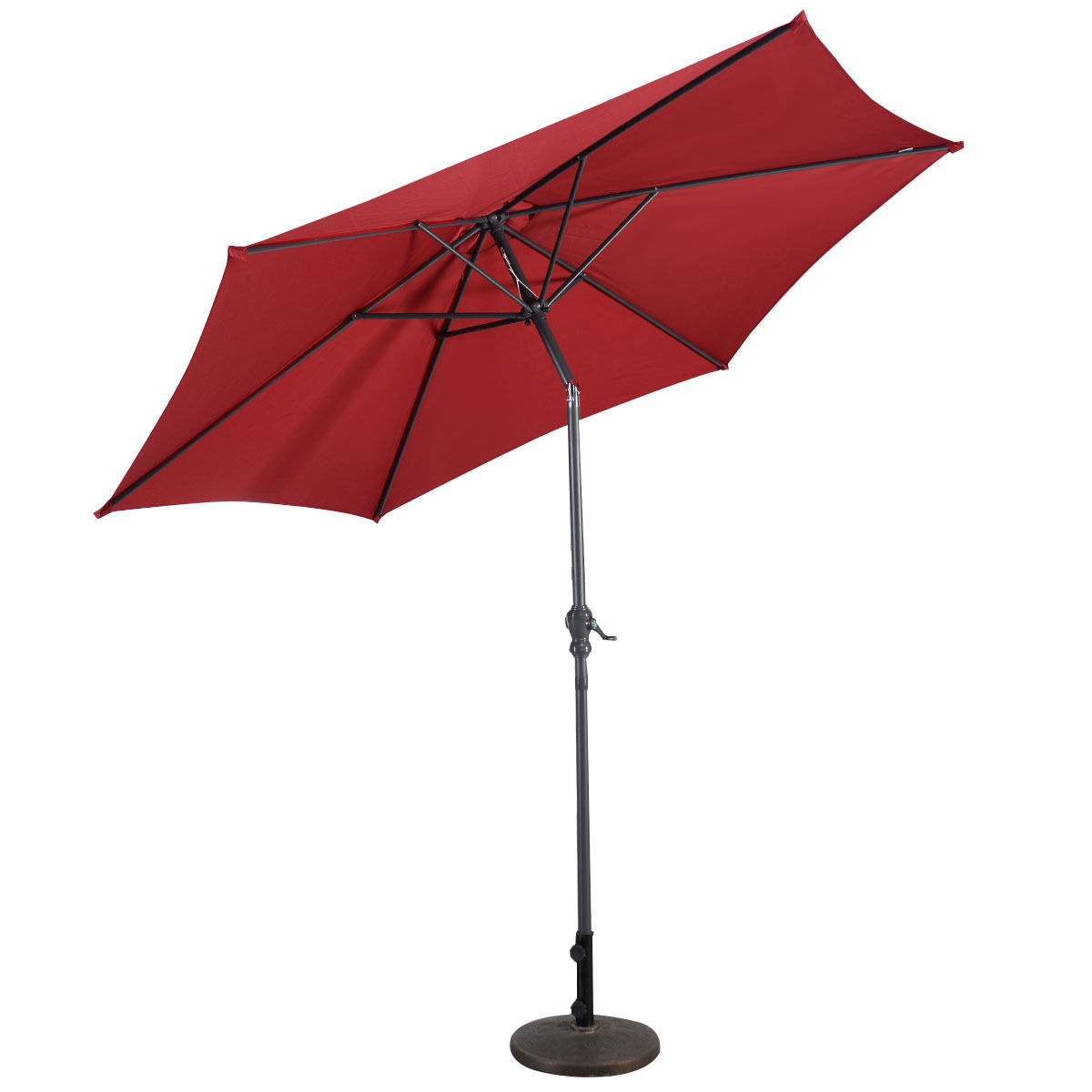 Costway 9FT Patio Umbrella Patio Market Steel Tilt W  Crank Outdoor Yard Garden Burgundy by Costway
