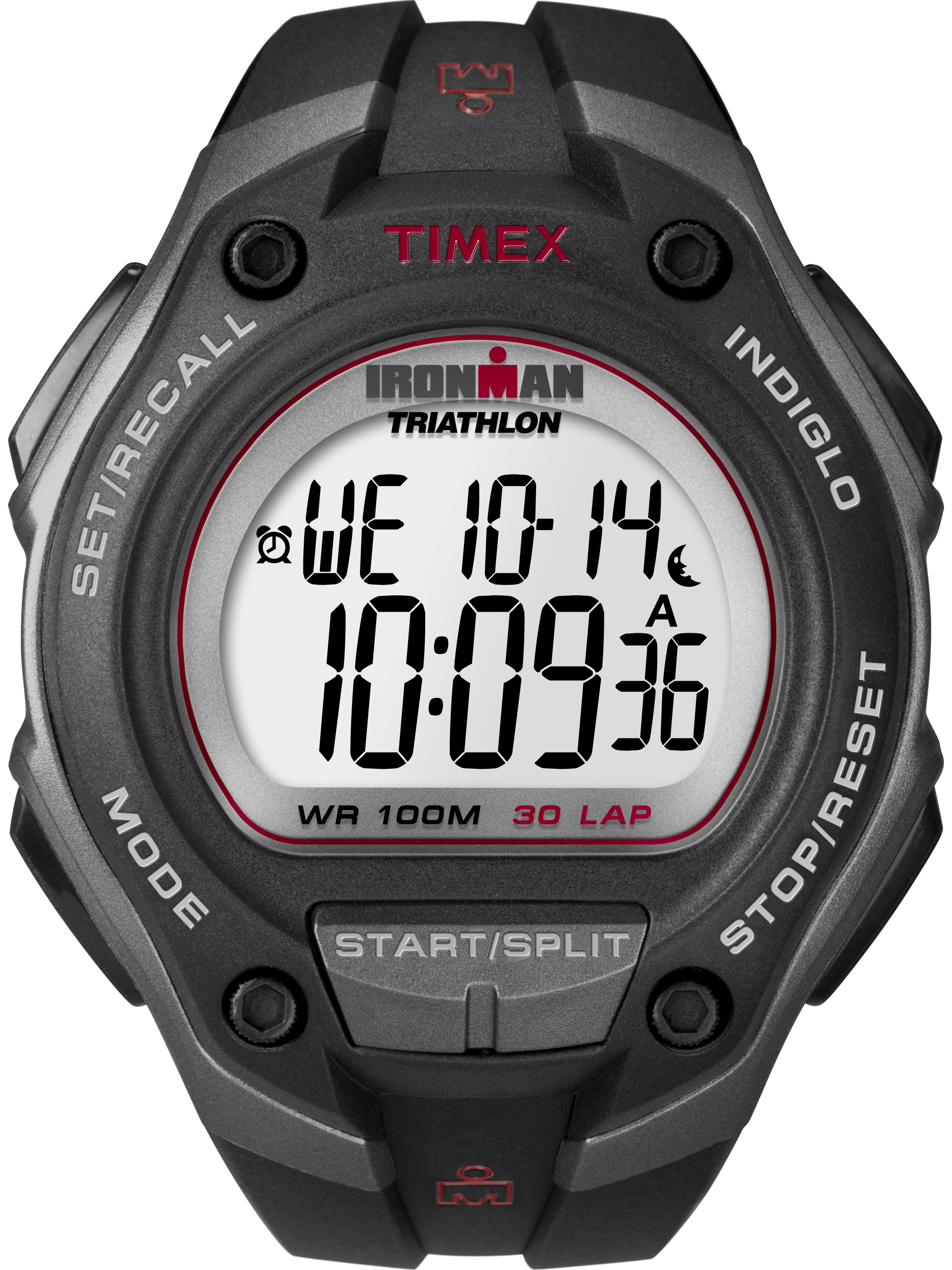 Timex Men's Ironman Classic 30 Oversized Black/Gray/Red Watch, Resin Strap
