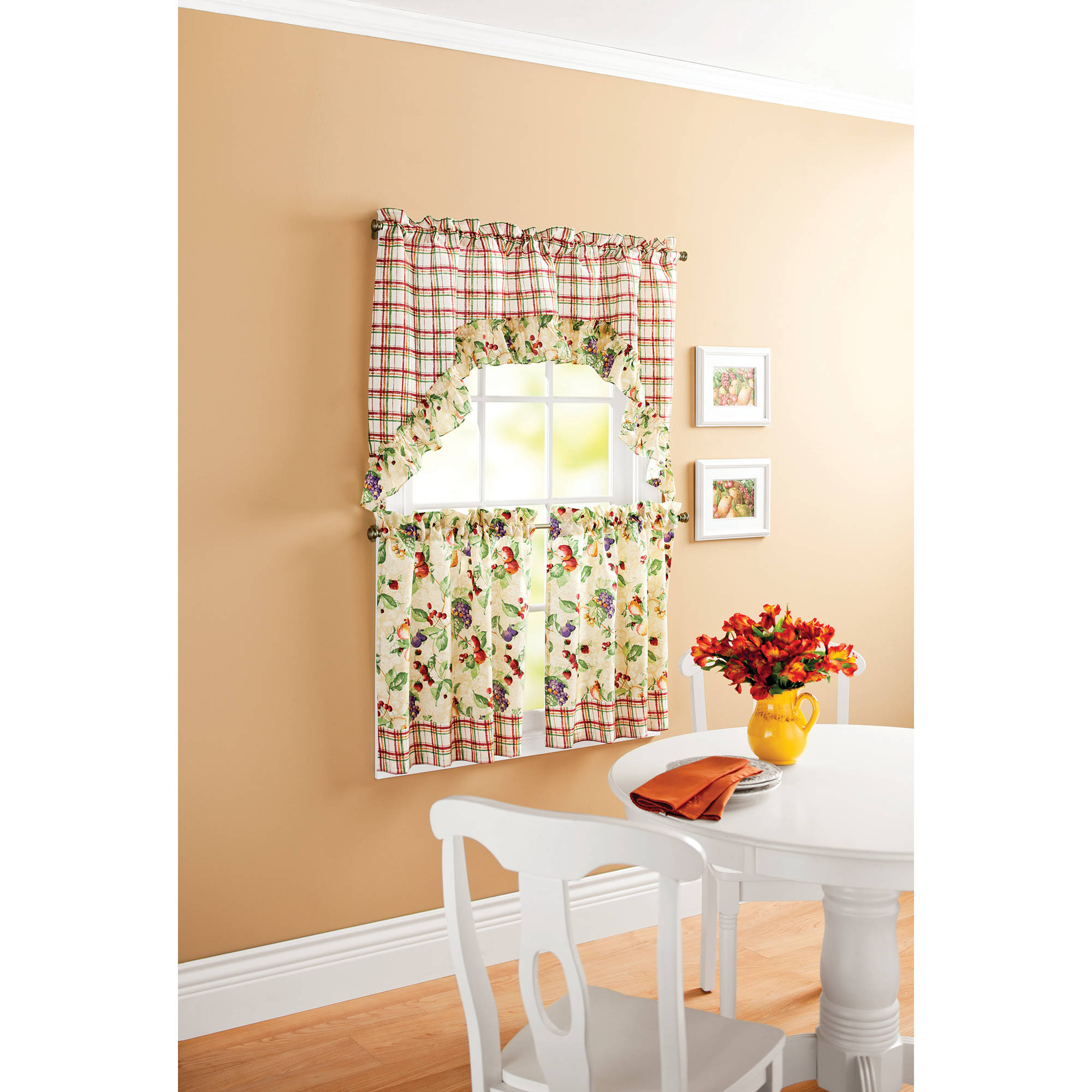Mainstays Orchard Fruits Kitchen Curtain 3 Piece Tier Valance Set by Richloom Home fashions
