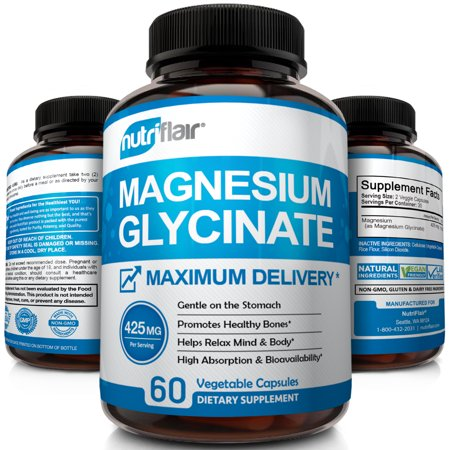 Naturally 60 Vegetable Capsules - NutriFlair Magnesium Glycinate Supplement 425mg - High Potency and Absorption | Advanced Complex Promotes Calm Mind, Stress Relief, Sleep, and Relaxed Body | Maximum Delivery, 60 Vegetable Capsules