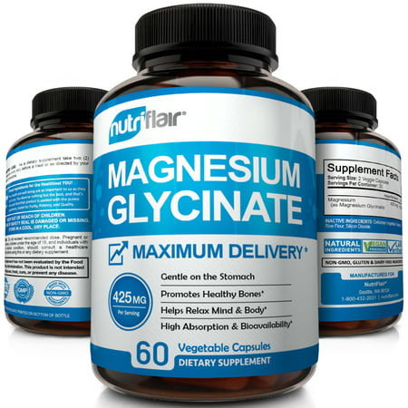 NutriFlair Magnesium Glycinate Supplement 425mg - High Potency and Absorption | Advanced Complex Promotes Calm Mind, Stress Relief, Sleep, and Relaxed Body | Maximum Delivery, 60 Vegetable Capsules