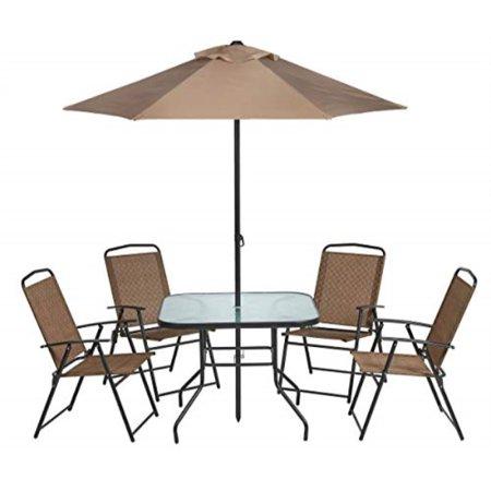 Outdoor 6-Piece Folding Patio Dining Furniture Set with Umbrella, Seats 4 ()