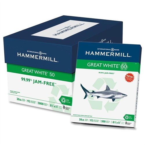 Hammermill 86780 Great White 50 Recycled Copy Paper, 20-lb., 8-1/2 X 11, White, 5000/carton