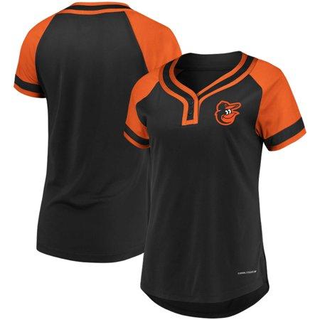 66654e763 Baltimore Orioles Majestic Women s League Diva Cool Base Henley Raglan  T-Shirt - Black - Walmart.com