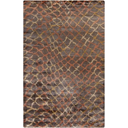 8 39 x 11 39 filet tordu chocolate brown burnt orange and gold hand knotted area throw rug. Black Bedroom Furniture Sets. Home Design Ideas
