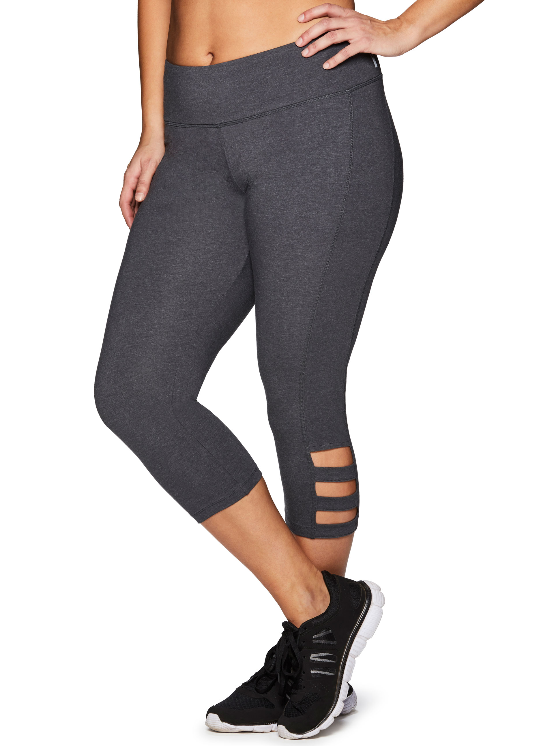 RBX Active Women's Plus Size  Cotton Spandex Fashion Workout Yoga Capri Leggings