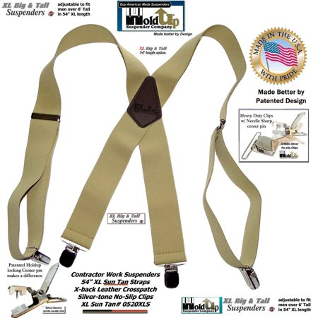 HoldUp Brand Extra Long XL Sun Tan Suspenders with Patented No-slip Jumbo Silver Clips