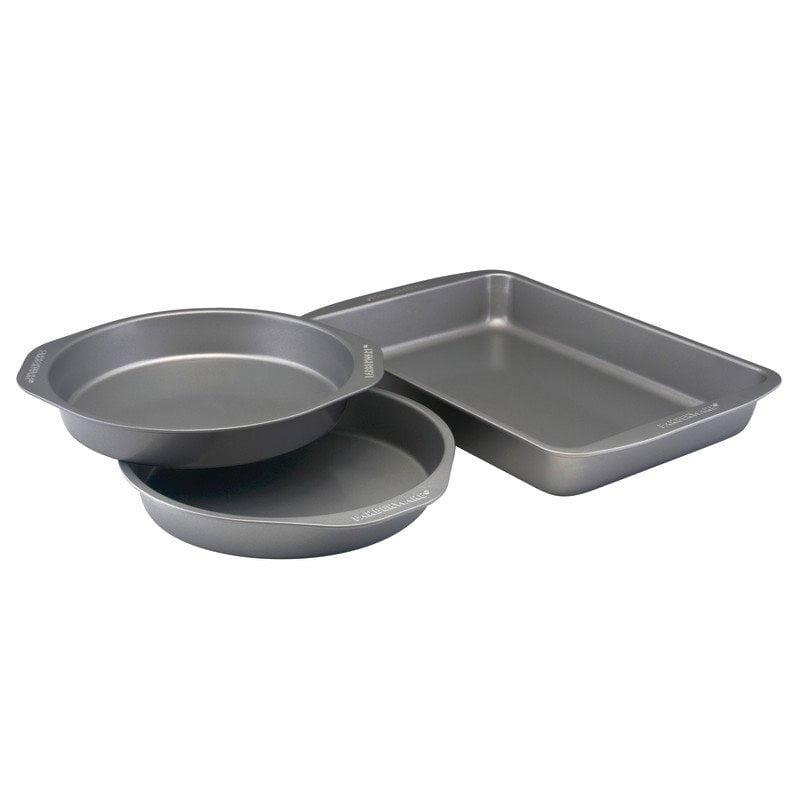Farberware Nonstick Bakeware 3-Piece Cake Pan Set, Gray