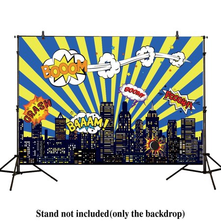 GreenDecor Polyster 7x5ft photography backdrop superhero birthday party hero super city building night baby shower boy children background prop photo studio - Cool Superhero Backgrounds