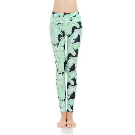 56b5ea0840 Maks - Girls or Junior Women's Printed Palm Leaf Compression Tights Active  Stretch Fitness Yoga Pants Running and Jogging Leggings - Walmart.com