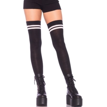 Women's Ribbed Athletic Thigh Highs, Black/White, -