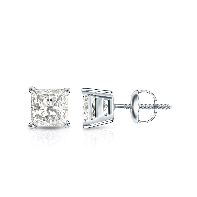 Auriya 14k Gold 1ct Tdw Princess Cut Diamond Stud Earrings Walmart Com