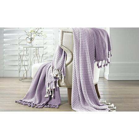 Amrapur Monaco 100% Cotton Throw Blanket with Fringe, 50u0022 x 60u0022, Lavender, 2 Pack