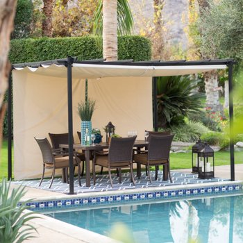 Pacific Casual Tuscany Pergola with Roof Style Canopy, Valance & Netting