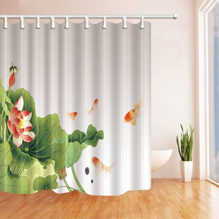 ARTJIA Watercolor Flowers Several Red Carp Swim Under the Green Lotus Leaf ? Polyester Fabric Bath Curtain, Bathroom Shower Curtain 66x72 inches for $<!---->