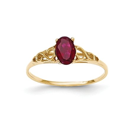 Solid 14k Yellow Gold Synthetic Simulated Garnet Ring (1mm) - Size 4