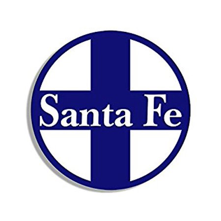 Round Blue SANTA FE Railroad Sticker Decal (rr railway rail logo) 4 x 4 inch (Santa Fe Railroad Logo)