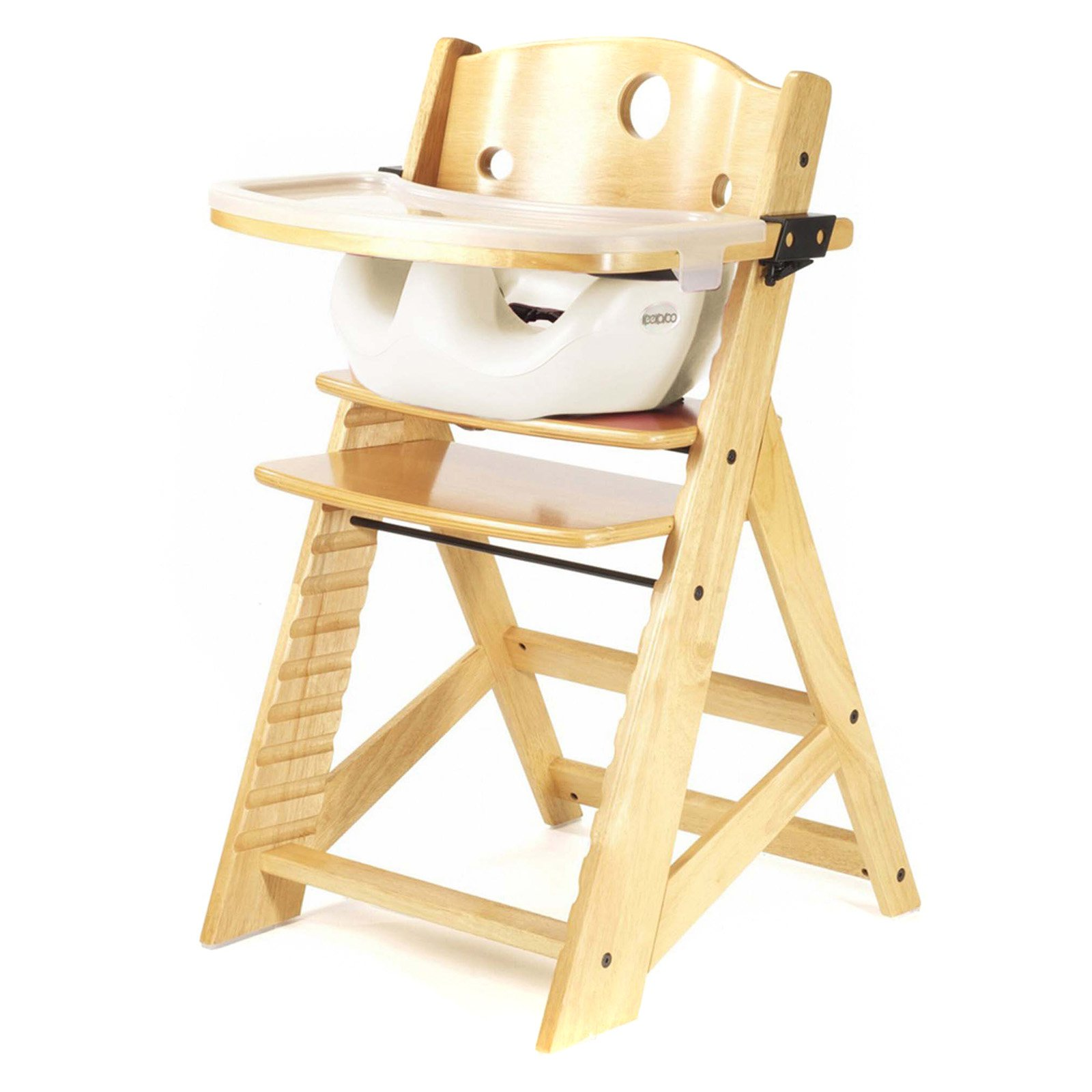 Keekaroo Height Right High Chair Natural with Black Infant Insert and Tray