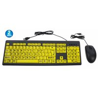 2 Big & Bright EZ See Keyboard - USB Wired - High Contrast Yellow With Black Oversized Letters - Low Vision Visually Impaired Keyboard For Seniors or Bad Visions + Mouse