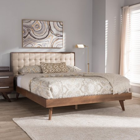 Baxton Studio Soloman Mid-Century Modern Light Beige Fabric and Walnut Brown Finished Wood Platform Bed, Multiple (Satin Beige Bed Frame)