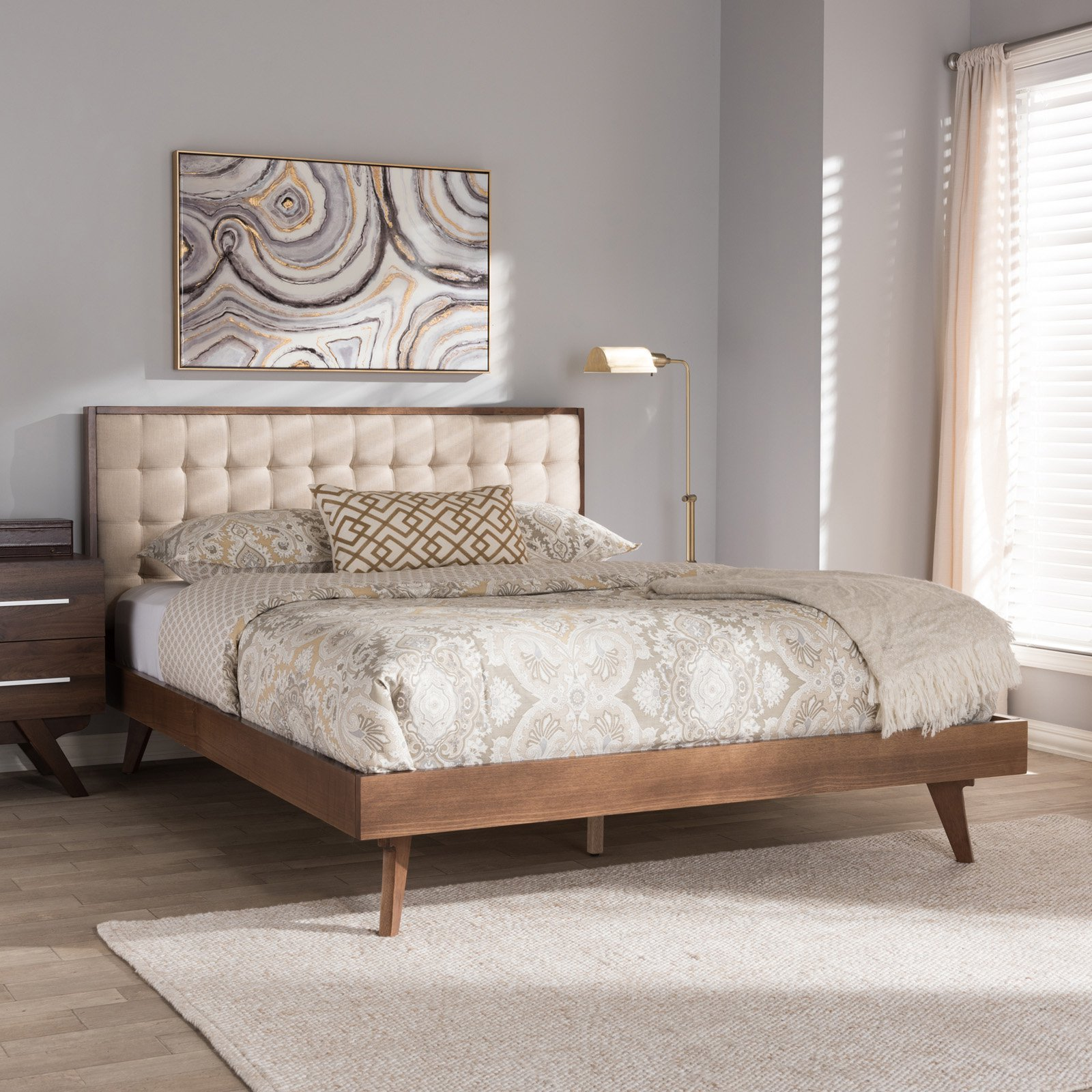 Baxton Studio Soloman Mid-Century Modern Light Beige Fabric and Walnut Brown Finished Wood Platform Bed, Multiple Sizes