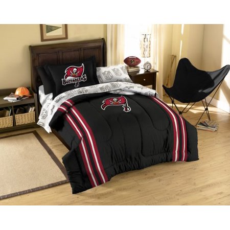 Tampa Bay Buccaneers NFL Twin Comforter, Sheets and Sham (5 Piece Bed in a Bag) by