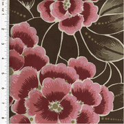 Cotton Pink/Brown Floral Print Velveteen Decorating Fabric, Fabric By the Yard