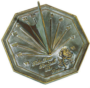 Rome Rome Rose Sundial Solid Brass with Verdigris Highlights by
