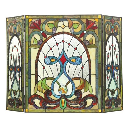 CHLOE Lighting RUBY Tiffany-glass 3pcs Folding Victorian Fireplace Screen 44