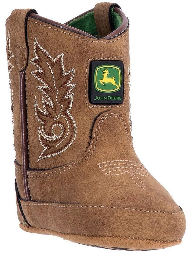 John Deere Boys Girls Tan Stitch Logo Detail Pull-On Crib Boots