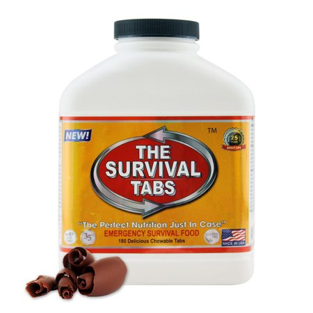 Survival Tabs 15 Day 180 Tabs Emergency Food Survival MREs Meal Replacement for Disaster Preparedness Gluten Free and Non-GMO 25 Years Shelf Life Long Term - Chocolate