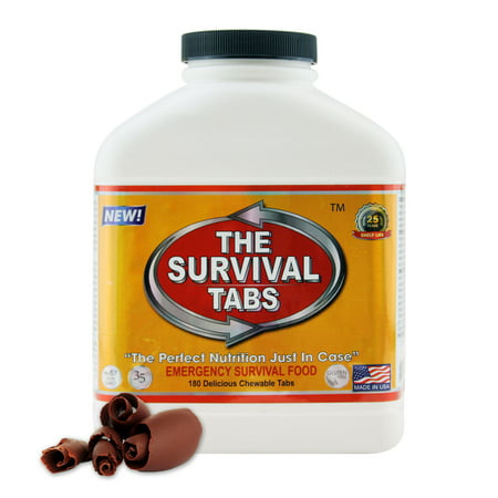 Survival Tabs 15 Day 180 Tabs Emergency Food Survival MREs Meal Replacement for Disaster Preparedness Gluten Free and Non-GMO 25 Years Shelf Life Long Term - Chocolate Flavor