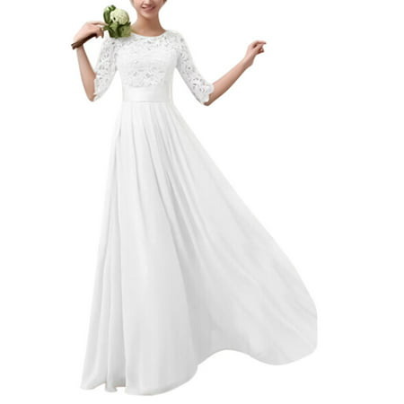 Long Formal Dresses Women Lace Maxi Evening Cocktail Party Ball Gown Prom 1/2 Sleeve Pageant Wedding Bridesmaid Dress