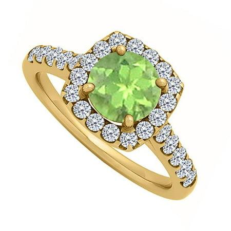 Fine Jewelry Vault UBNR50576AGVYCZPR Halo Peridot & CZ Engagement Ring, Yellow Gold Vermeil, 10