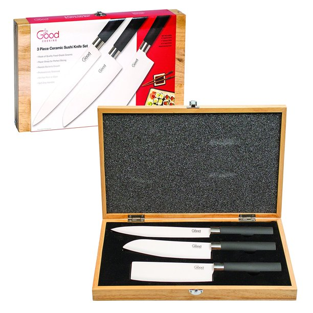 Ceramic Knife Set - Premium, Professionally-Balanced Knives (Set of 3 Unique Blades) with Wooden Carrying Case
