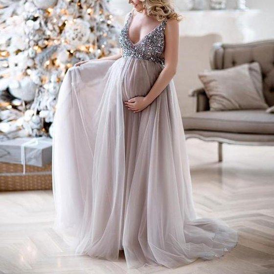1debf0052a36e UKAP - Sexy Sequin Lace Chiffon Maternity Spaghetti Sling Dress ...