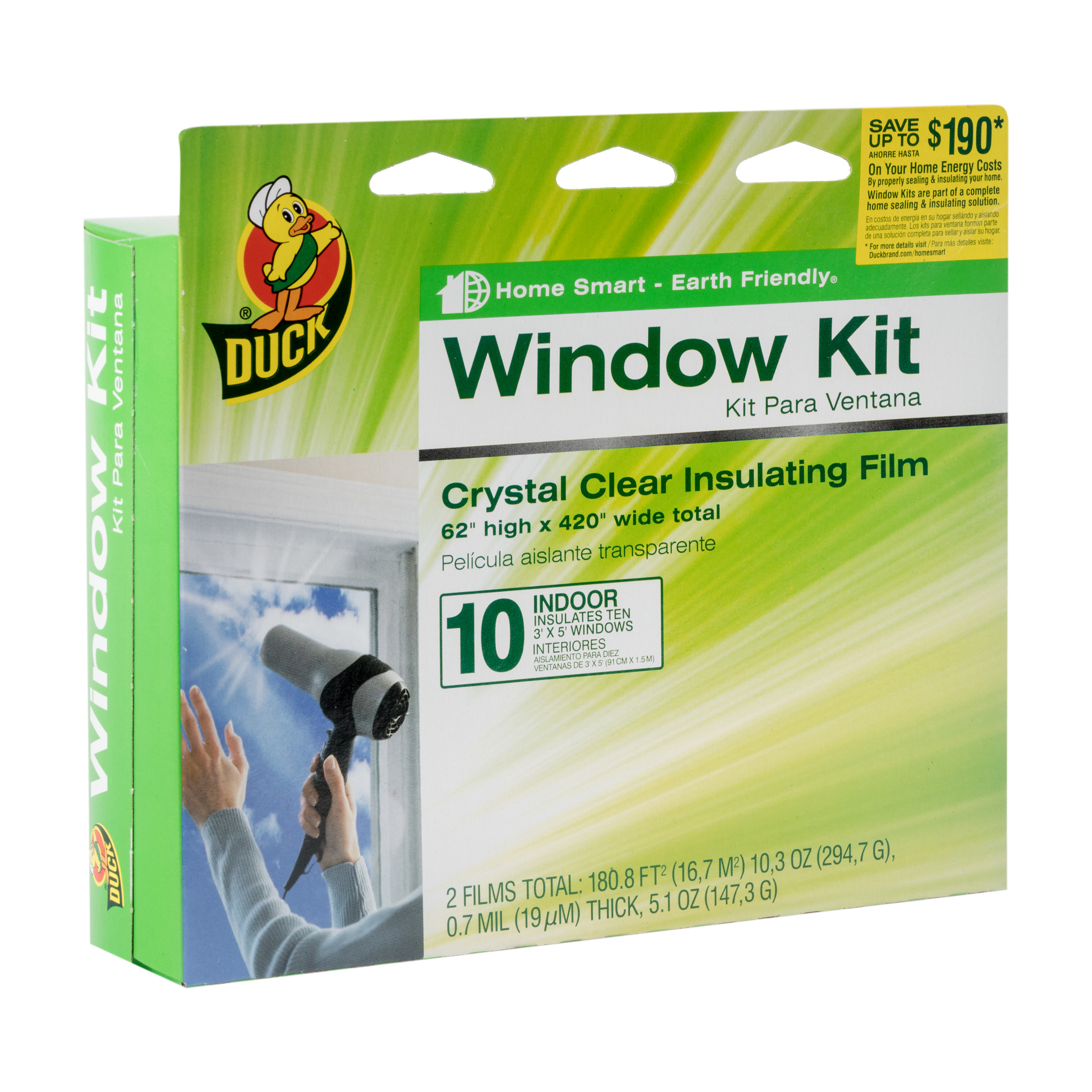 "Duck Indoor Window Insulation Kit, Insulates 10 Windows, 62"" x 420"" Film"
