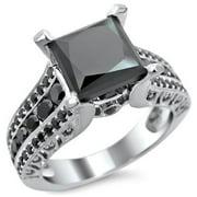 Noori Collection Noori 14k White Gold 3ct TDW Certified Princess Cut Black Diamond Ring
