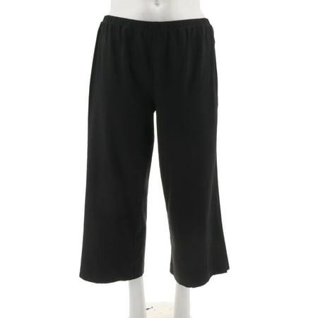 Joan Rivers Wide Leg Pull-on Cropped Knit Pants