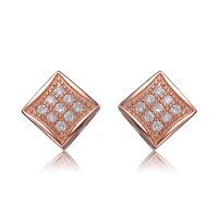 RelavenO Sterling Silver Cubic Zirconia Brushed Rose-gold Square Stud Earrings